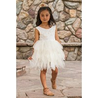 Blanche Ivory Lace Scalloped Lace Tier Tulle Tutu Dress - Toddler & Girls