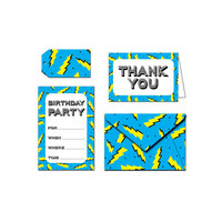 Printable Party Invitation Set - Birthday Party Lightning Bolts - Blue / Black / Teal
