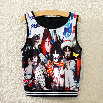 New Summer Fashion Street Style Pattern Print Midriff High Waist Crop Tops Sportgym Vest = 4765286788