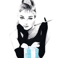 Audrey Hepburn at Tiffany's  Pencil and pen drawing by soo210