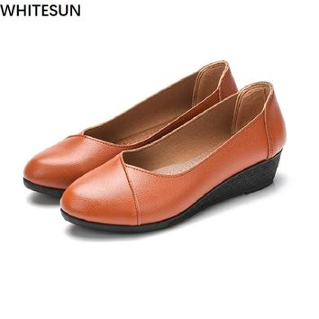 WHITESUN 2018 spring Summer shoes women low heel pumps shoes women Wedge shoes solf bottom black red grey orange colours