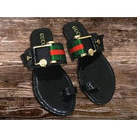 GUCCI New fashion letter stripe print shoes slippers women Black