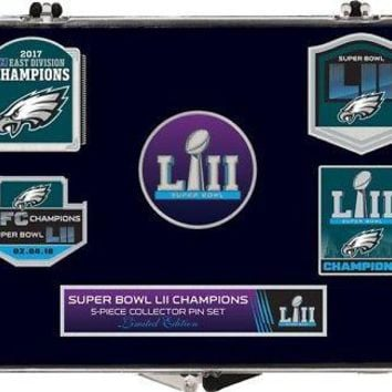 PHILADELPHIA EAGLES 2017 SUPER BOWL LII CHAMPIONS COMMEMORATIVE PIN SET 5-PIECE