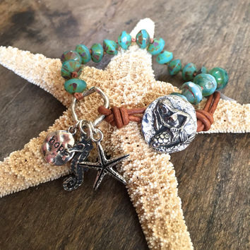 Mermaid Knotted Turquoise Wrap Bracelet, Seahorse Beach Chic by Two Silver Sisters twosilversisters