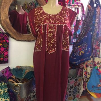 Fino Embroidered Maxi Dress Maroon and Gold