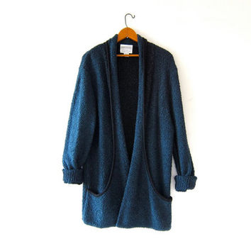 vintage long midnight blue cardigan sweater. cocoon sweater coat. pocket sweater jacket.