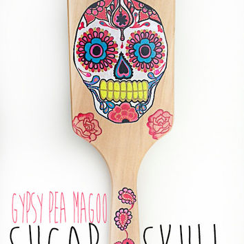 Paddle Hair Brush; DIa De Los Muertos Sugar Skull