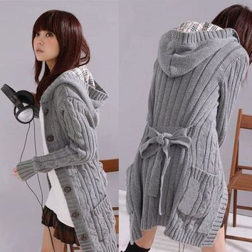 2015 Promotion Cardigans Sweater Women The Long Style Warm New Woman Sweater Sale Of Fund Of Autumn Winters Jacket Grey Cardigan