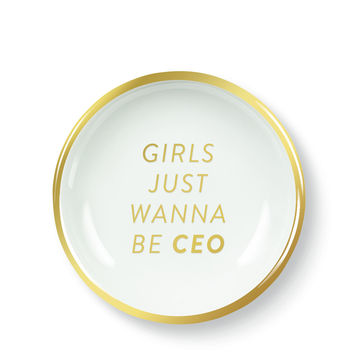 Girls Just Wanna Be CEO Porcelain Tray in White and Gold