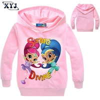 2017 Shimmer And Shine Sweatshirt Hoodies For Girls Long Sleeve T-shirt  For Boys Baby Girls Clothes Spring Sport T-shirts Boys