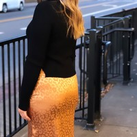 Leopard Bias Cut Midi Skirt