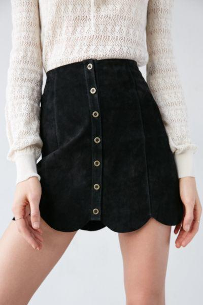 b674f7d45 Ecote Suede Scalloped A-Line Skirt from Urban Outfitters