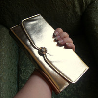 Vintage Gold Leatherette Clutch