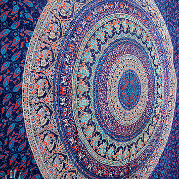 Elephant Hippie Tapestry, Floral Mandala Hippie Bedspread Throw Bohemian Wall Hanging, Boho Ethnic Wall Decor, Queen Tapestry Mandala Art