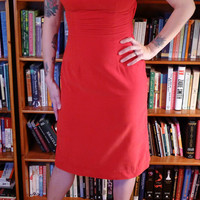 BE MINE--Fabulous 1950s Lipstick Red Velvet Wiggle Dress with Back Bow Detail-S