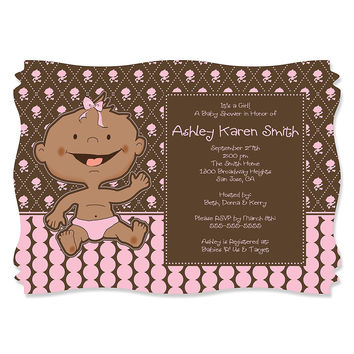 Modern Baby Girl African American - Personalized Baby Shower Invitations