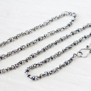 Unique Sterling Silver Chain Necklace, handcrafted oxidized silver necklace, infinity clasp, artisan jewelry, chain for pendant 18 inch