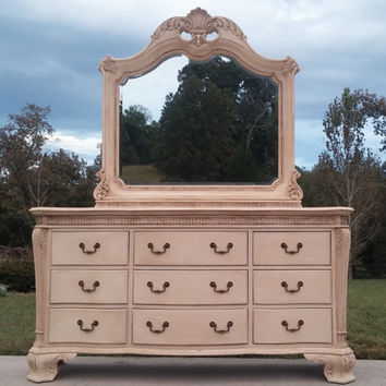 Annie Sloan Chalk Painted Dresser and Mirror/ Buffet/ Sideboard Storage Furniture