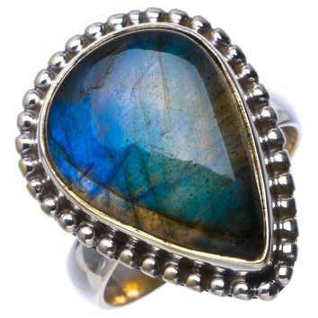 Natural Blue Fire Labradorite Handmade Unique 925 Sterling Silver Ring 6.25 B1490