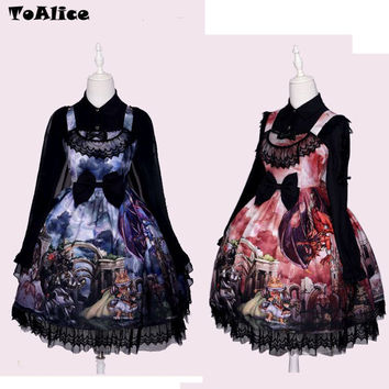 Vintage Gothic Lolita Dress + Shawl Dragon & Knight Cat Print Princess JSK Dress Party Sleeveless Strap Bows Ball Gown Dress