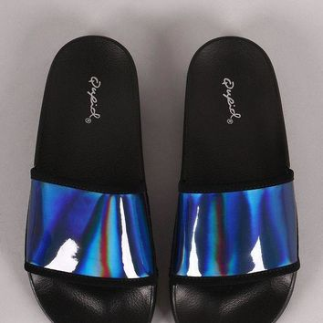 Qupid Iridescent Open Toe Slide Sandal