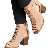Hot style hot selling sexy comfortable chunky heel open toe strap sandals