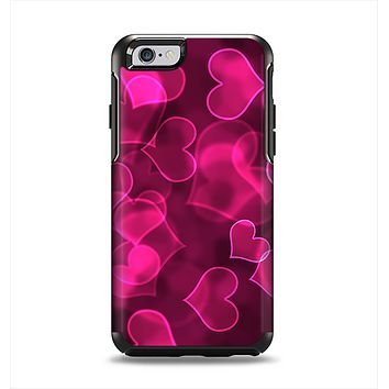 The Glowing Pink Outlined Hearts Apple iPhone 6 Otterbox Symmetry Case Skin Set