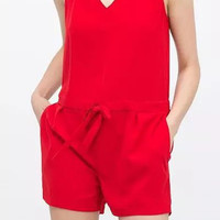 Red V-Neck Backless Romper