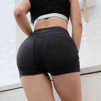 Summer Fashion Solid Color High Waist Tight Shorts Women Hot Pants