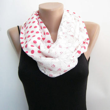 15% SALE White lace polka dots infinity scarf