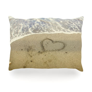 "Debbra Obertanec ""Beach Heart"" Sand Coastal Oblong Pillow"