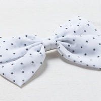 AEO Women's Printed Bow Barrette (White)