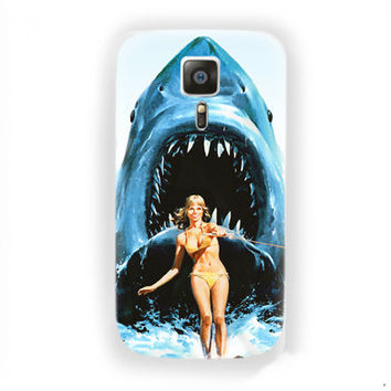 Jaws Shark water sky Funny poster For Samsung Galaxy S6 Edge Case