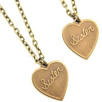 Sisters Brass Pendant 1 x Pair Set of Brass Heart Vintage Necklace Gift New Gift