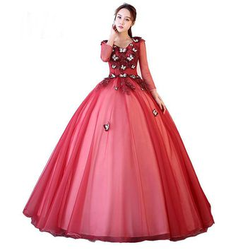 Red Evening Dress V-neck Full Sleeve Butterfly Appliques High-end Lace Ball Gown Backless