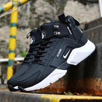 Best Online Sale Nike Air Huarache X Acronym City Customise MID Leather Sport Shoes Black White