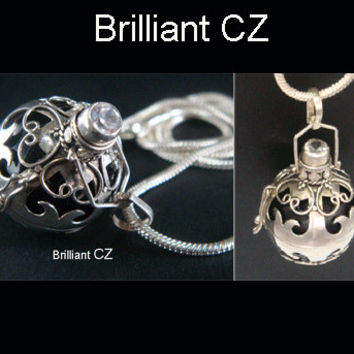 Harmony Ball Bola Necklace with Brilliant CZ on Hearts Design 925 Sterling Silver Cage & Black Chime Ball | Pregnancy Gift, Angel Caller 414