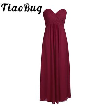 TiaoBug New Arrival Elegant White Women Ladies Chiffon Bridesmaid Dress Long Prom Gown Party Princess Floor Length Summer Dress