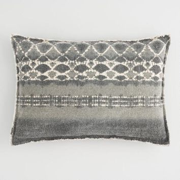 Oversized Gray Tie Dye Frayed Edge Lumbar Pillow
