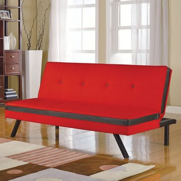 Penly collection tow tone red and black faux leather upholstered futon sofa bed