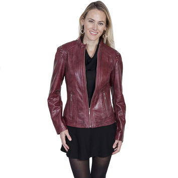 Scully Womens Black Cherry Contemporary Leather Jacket