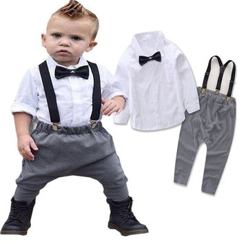 2017 New Baby Boy Spring Gentleman Solid Clothing sets Suit Newborn Baby Bow Tie Shirt + Suspender Trousers 3 pcs tracksuit