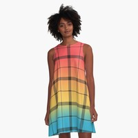 'Cool Rainbow Ombre with Black Plaid' A-Line Dress by Greenbaby