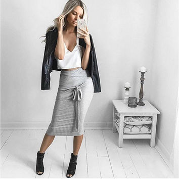 Gray Bow Tie Striped Skirt