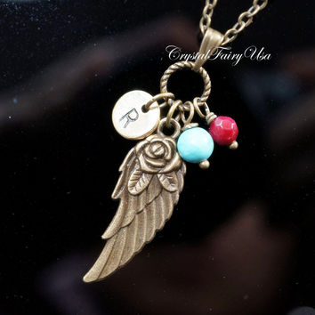 Bronze Angel Wing Necklace Hand Stamped Initial Necklace Turquoise Necklace Ruby Birthstone Necklace Personalized Necklace  Retro Wing Charm