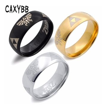 Caxybb Men Cosplay Game The Legend of Zelda Link rings Fashion titanium steel ring 3 colors, Black Gold Sliver Ring Dropshipping