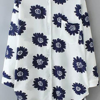 Blue Floral Chiffon Pointed Flat Collar Long Sleeve Blouse