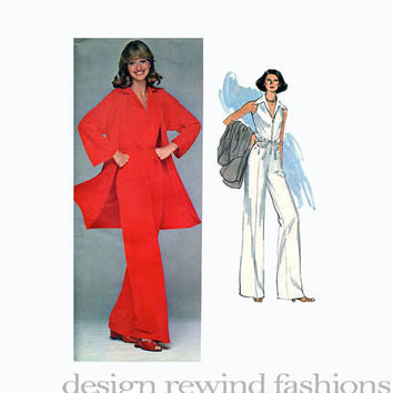 1960s Leo NARDUCCI JUMPSUIT & Jacket: Sleeveless Zipper Front Wide Collar Vogue 1389 American Designer Mod UNCUT Vintage Sewing Patterns