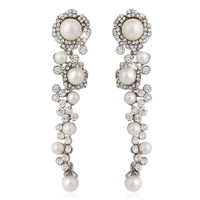 "Bridal Flower Vine Pearl Clear Rhinestone Crystal Earrings Dangle Gauges Plugs 2g 0g 00g 7/16"" 1/2"" 6mm 8mm 9mm 11mm 12mm"