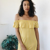 SAIL AWAY DRESS- MUSTARD STRIPE